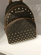 NWT Michael Kors Abbey MD Brown Acorn Studded PVC MK Backpack School Bag