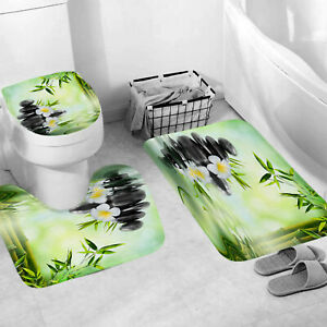 SPA Bamboo Green Shower Curtain With Hook Bath Mat Bathroom Toilet Cover Rug Set