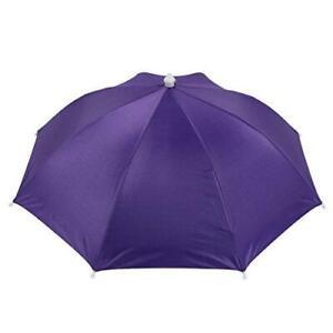 uxcell Purple Polyester 8 Ribs Fishing Sun Rain Headwear Umbrella Hat Cap