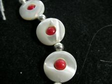 Hand Crafted Sterling Silver Coral Mother Pearl MOP artisan bracelet jewelry new