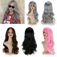 26''  Women Ladies Pink Synthetic Hair Curly Wig Long Wavy Full Wigs   F