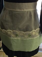Children'S Vintage Apron(Sm Adult?) Frilly Green/White Organza- 2 Big Pockets