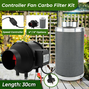 """4"""" / 6"""" Inline Tube Fan w/ Controller & Carbon Filter Combo Kit for Plants Grow"""