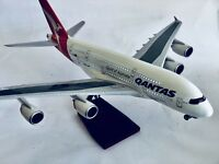 QANTAS A380 WITH LED CABIN LIGHTS & WHEELS  STAND APX 45cm RESIN RECHARGEABLE