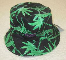 NWT ECKO UNLTD WEED MEN REVERSIBLE BUCKET HAT SIZE ONE SIZE BLACK/GREEN