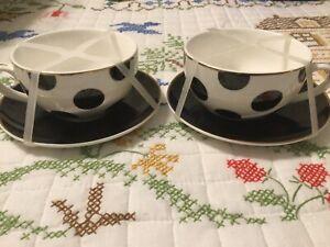 2 Grace Teaware Coffee Teacup Cup Saucer Polka Dot Gold Trim Set Black 12 Oz