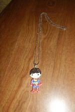 SUPERMAN PENDANT NECKLACE WITH SPARKLY RHINESTONES AND A 9 AND 1/2 INCH CHAIN NE