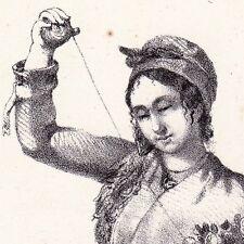 Lithographie Paysanne Agen Lot et Garonne Fileuse Quenouille 1835