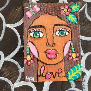 ORIGINAL ACEO Painting Folk Art Girl Woman Flower Tropical Tribal Jungle Love