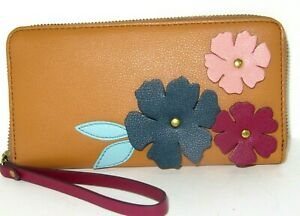 Fossil Jori Zip Clutch Wallet Multi Colored Floral Tan Leather RFID NWT $78