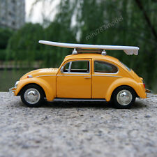 Vw Beetle 1967 Classic Car Model Yellow Alloy Diecast Toys + surfboard Gifts New