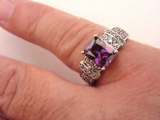 925 Sterling Silver Ring With Purple Amethyst UK P 1/2, US 8 (rg2059)