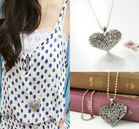 women  Carved Heart Flower Long Chain Silver Tone Pendant Necklace Jewelry gift
