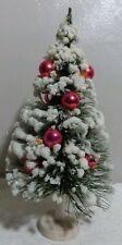 "VINTAGE BOTTLE BRUSH 11"" CHRISTMAS TREE FLOCKED RED MERCURY GLASS BULBS"