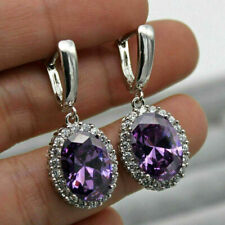 6.50Ct Oval Cut Amethyst Diamond Drop & Dangle Earrings 14K White Gold Finish