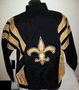 NEW ORLEANS SAINTS NFL Starter Half Zip Pullover Jacket BLACK & TAN MED LG XL 2X