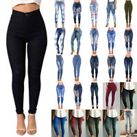 Women Stretchy Skinny Jeans Denim Pants High Waisted Jeggings Legging Trousers