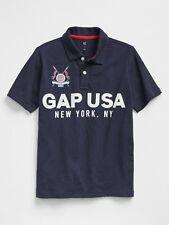 BNEW GAP Logo Graphic Polo in Slub Kids Polo Shirt, True Indigo