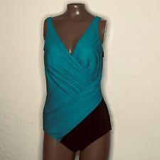 Sz 16 Miraclesuit Oceanus Colorblock Crisscross Swimsuit 6526416 Green/Black