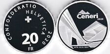 SWITZERLAND SILVER 20 FRANCS 2020 PROOF OPENING OF THE CENERI RAILWAY TUNNEL