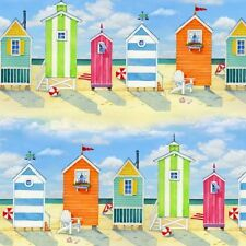 BEACH HUTS Fabric Cotton Craft Quilting Beach Vista SEASIDE By the metre
