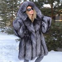 Real Silver Fox Fur Coat Women's Full Pelt Jacket Hooded Thick Hoodie Overcoat