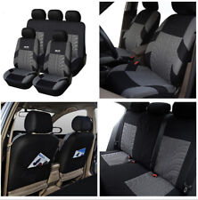 9pcs Washable Embroidery Car Seat Covers Cushion Set Separate Headrest Covers