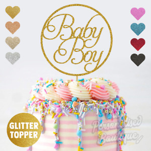 Baby Boy, Baby Shower, Gender Reveal Pregnancy Announcement, Glitter Cake Topper