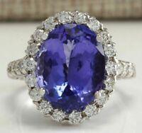 4Ct Oval Cut Blue Tanzanite Brilliant Halo Engagement Ring 14K White Gold Finish