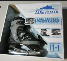 Lake Placid Adjustable Size 11-1 Youth Ice Skates Black & Gray New!