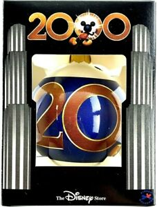 Mickey Mouse Christmas Ornament 2000 Bulb Ball Glass NIB