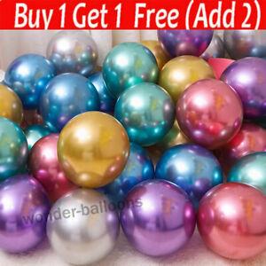 "Chrome Metallic Balloons 10"" inch Birthday Party Wedding Baby Shower Decors UK"