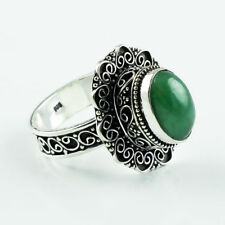 43ct NATURAL EMERALD VINTAGE STYLE SILVER PLATED RING SIZE=9.50 HANDMADE