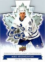 2017 UD Toronto Maple Leafs Centennial Die-Cut Card #74 Mike Krushelnyski
