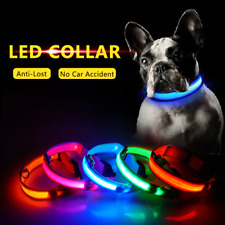 LED Adjustable Dog Collar Blinking Night Flashing Light Up Glow Pets Safety and