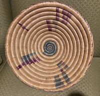 African Uganda Woven Coiled Basket With Pedestal Base