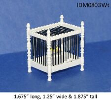 BIRD CAGE WITH BIRD WHITE FINISH 1:12 SCALE DOLLHOUSE MINIATURES ANIMALS PET