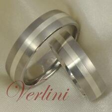 6MM Titanium Rings Set Wedding Bands Silver Inlay Men Women Jewelry Size 6-13
