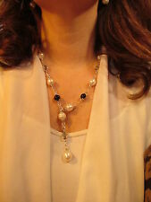 Paspaley South Sea Pearl & Onyx Tourmalinated Quartz Station Necklace Lariat New