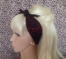Noir Rouge Paisley Coton Bandana Tête Cheveux Foulard Retro Rockabilly Pin Up