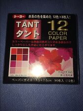 Japanese Toyo Tant Origami Paper 12 Shades of Red 7.5cm 3in 8 each