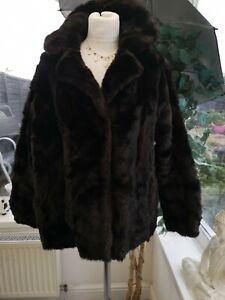 Ladies Vintage Tissavel Faux Fur Coat 10 - 12 Hook Closure side pockets VGC