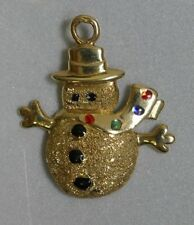 Vintage 14K Yellow Gold Enameled Snowman Charm
