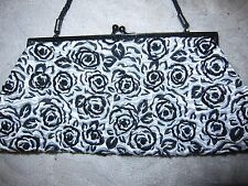 Lancome white satin evening bag / purse with black beaded floral design