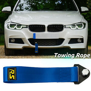 High Strength Blue Tow Strap Front Rear Bumper Towing Hook Universal Racing Rope