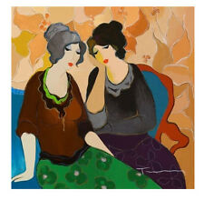 Art Quality Canvas Print, Itzchak Tarkay oil painting Neighbors 15x15