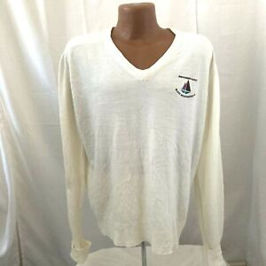 VTG 80s Mens White Black Mountain G&CC Member La Mode Cashmerlon Golf Sweater XL