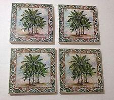Kitchen Counter Coasters Palm Tree Tile Set of 4 Coaster