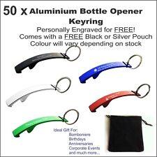 50 x Custom Engraved Personalised Metal Keyring Bottle Opener Wedding Bomboniere
