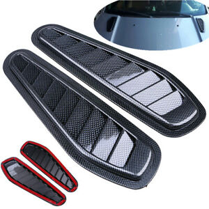2× Universal Car Decorative Air Flow Intake Hood Scoop Vent Bonnet Cover Carbon!
